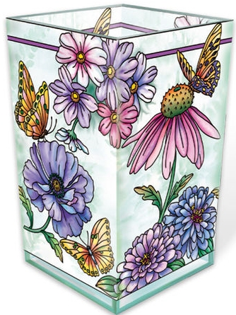 Amia 40008 Aubergine Merci Beaucoup Rectangular Vase Votive Holder