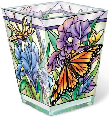 Amia 40019N Iris Meadows Rectangular Vase Votive Holder