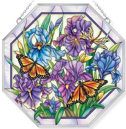 Amia 40022 Iris Meadows Beveled Glass Medium Octagon Panel