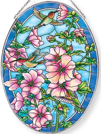 Amia 40023 Cottage Garden Hollyhocks Large Oval Suncatcher