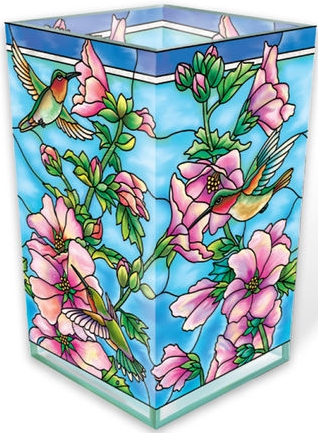 Amia 40030 Cottage Garden Hollyhocks Rectangular Vase Votive Holder