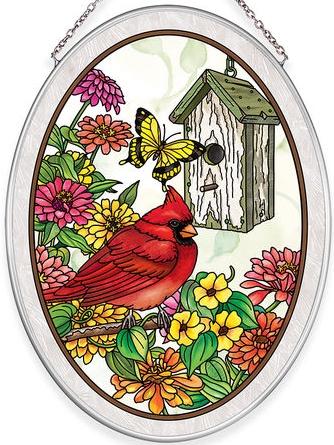Amia 40034 Birdsong Cardinal Medium Oval Suncatcher