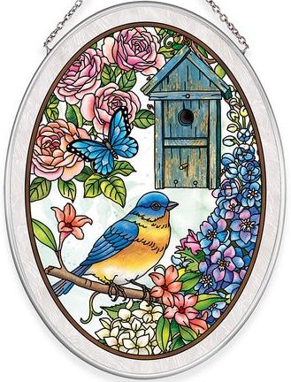 Amia 40035N Birdsong Bluebird Medium Oval Suncatcher
