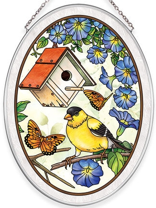 Amia 40036N Birdsong Goldfinch Medium Oval Suncatcher