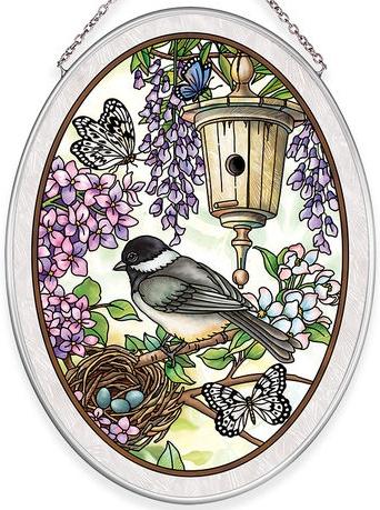 Amia 40037 Birdsong Chickadee Medium Oval Suncatcher