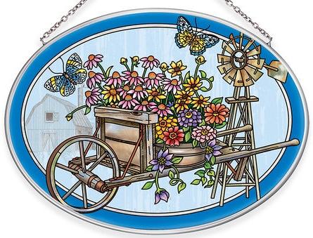Amia 40040 Garden Wheel Barrow Medium Oval Suncatcher