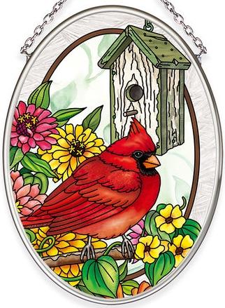 Amia 40043N Birdsong Cardinal Small Oval Suncatcher