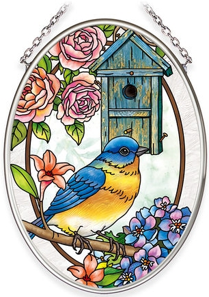 Amia 40044 Birdsong Bluebird Small Oval Suncatcher