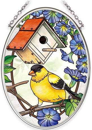 Amia 40045N Birdsong Goldfinch Small Oval Suncatcher