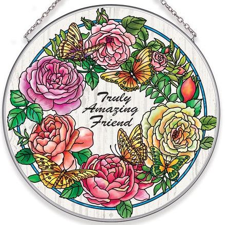Amia 40047 Rambling Rose Large Circle Suncatcher