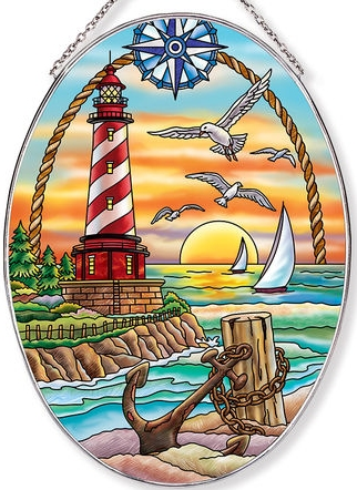 Amia 40048N Sunset Harbor Large Oval Suncatcher