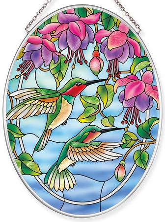 Amia 40051 Fuchsias & Hummingbirds Medium Oval Suncatcher