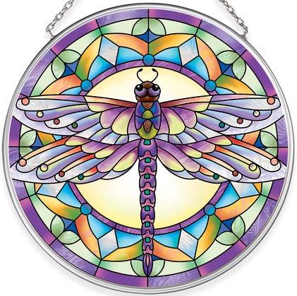 Amia 40055N Purple Dragonfly Medium Circle Suncatcher