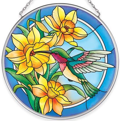 Amia 40056N Humming Daffodils Medium Circle Suncatcher
