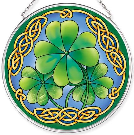 Amia 40061 Good Luck Clovers Medium Circle Suncatcher