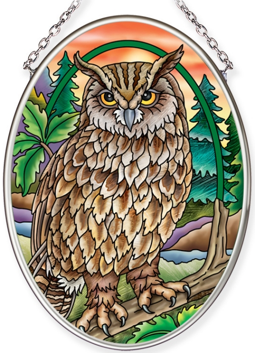 Amia 40065 Sunset Owl Small Oval Suncatcher