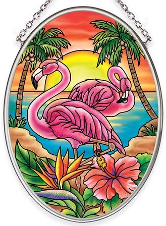 Amia 40066 Flaming Flamingo Small Oval Suncatcher
