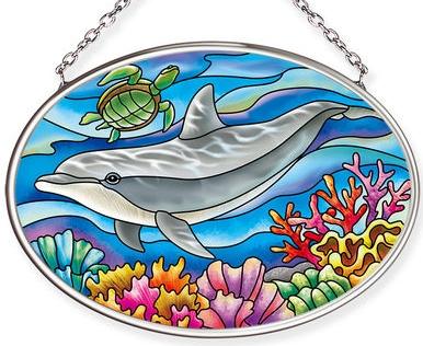Amia 40067 Playful Dolphin Small Oval Suncatcher