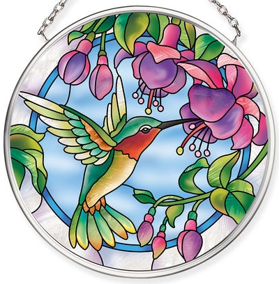 Amia 40069 Fuchsias & Hummingbird Small Circle Suncatcher