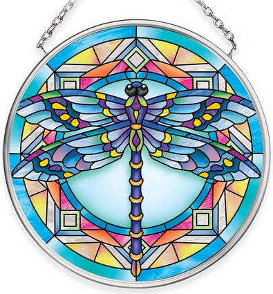 Amia 40070N Stained Glass Blue Dragonfly Small Circle Suncatcher