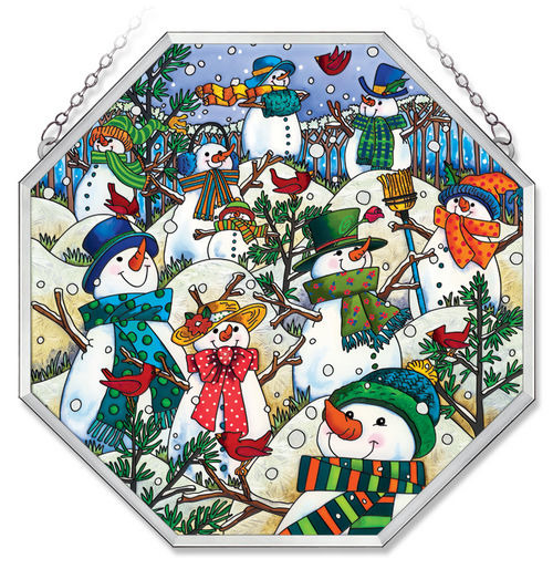 Amia 41018 A Hill of A Lot of Snowmen Beveled Medium Octagon Panel