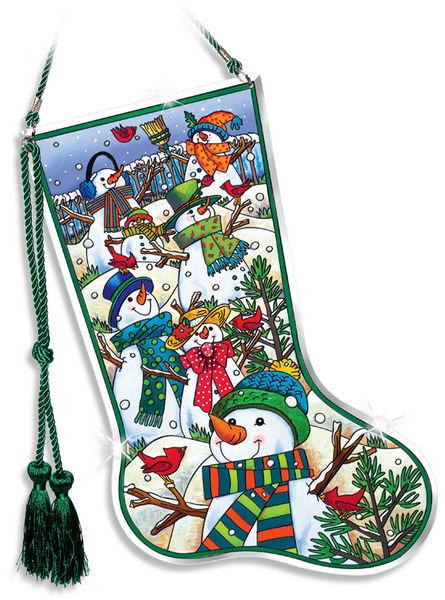 Amia 41023 A Hill of A Lot of Snowmen Stocking Suncatcher