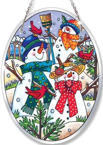 Amia 41025 A Hill of A Lot of Snowmen Medium Oval Suncatcher