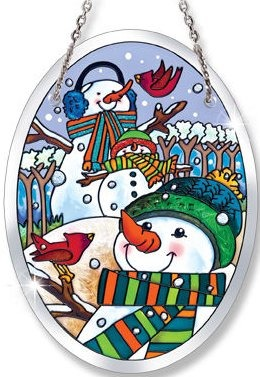 Amia 41026 A Hill of A Lot of Snowmen Small Oval Suncatcher
