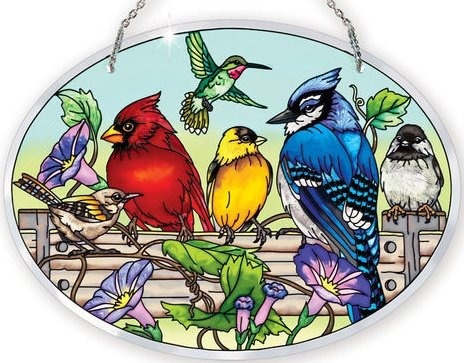 Amia 41053 Rail Birds Large Oval Suncatcher