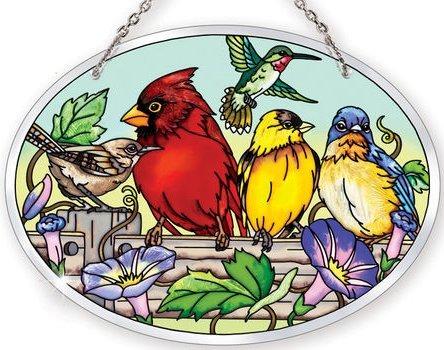 Amia 41054 Rail Birds Medium Oval Suncatcher