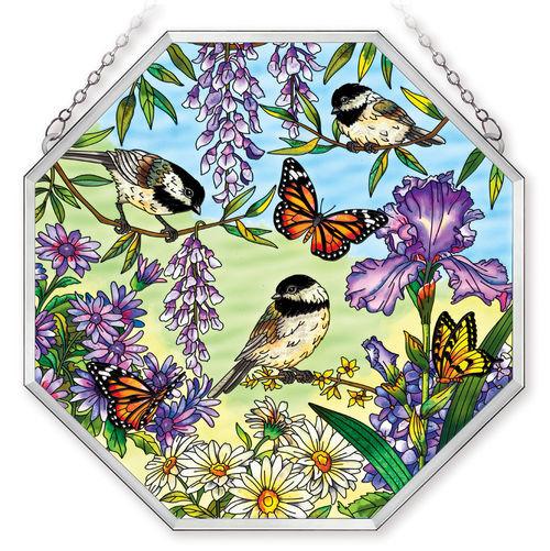 Amia 41062 Chickadee Garden Beveled Medium Octagon Panel