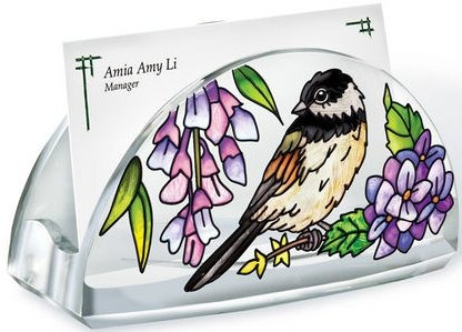 Amia 41069 Chickadee Garden Business Card Holder