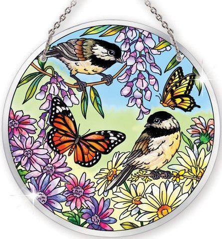 Amia 41071 Chickadee Garden Large Circle Suncatcher