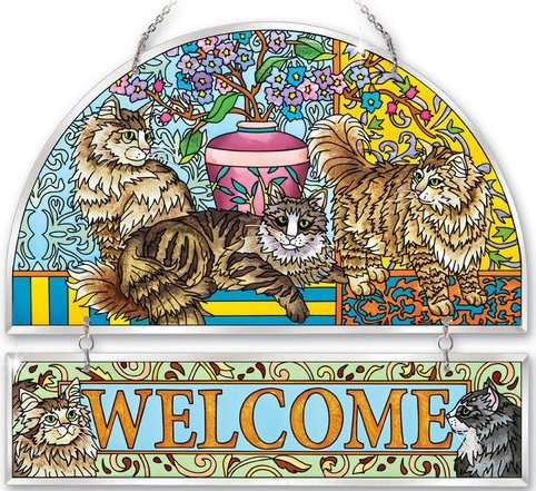 Amia 41194 Tapestry Cats Beveled Welcome Panel