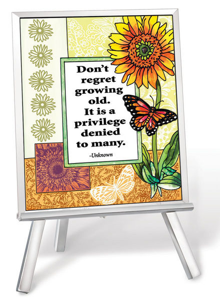 Amia 41224 Don't Regret Growing Older Beveled Glass Easel & Plaque