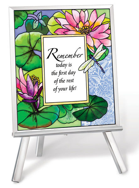 Amia 41228 Remember Today Beveled Glass Easel & Plaque