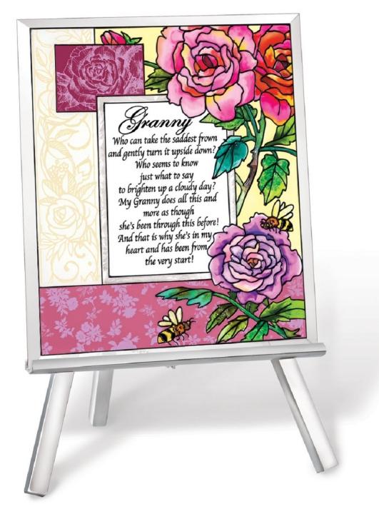 Amia 41232 Granny Beveled Glass Easel & Plaque