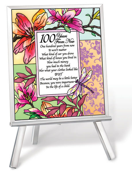 Amia 41234 100 Years From Now Beveled Glass Easel & Plaque