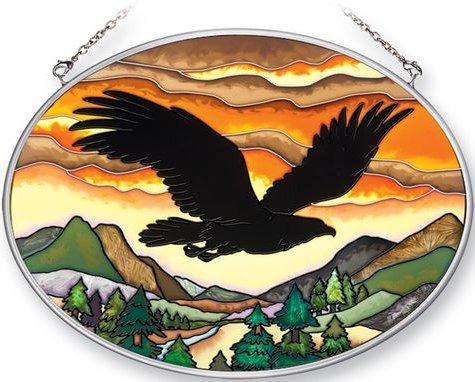 Amia 41355 Eagle Silhouette Medium Oval Suncatcher