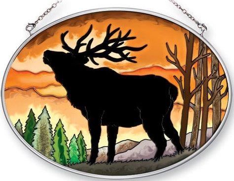 Amia 41356 Elk Silhouette Medium Oval Suncatcher