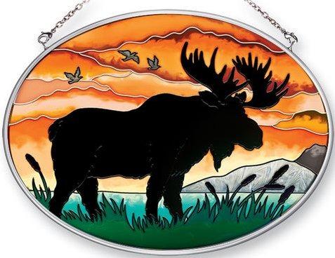 Amia 41357 Moose Silhouette Medium Oval Suncatcher