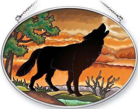Amia 41358 Wolf Silhouette Medium Oval Suncatcher