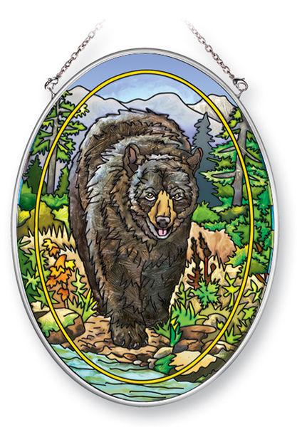 Amia 41364 Black Bear Medium Oval Suncatcher