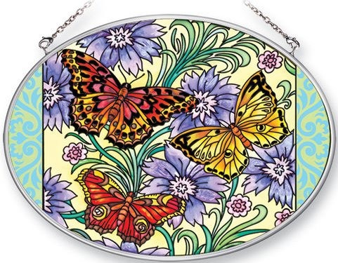 Amia 41368 Butterflies & Scrolls Medium Oval Suncatcher