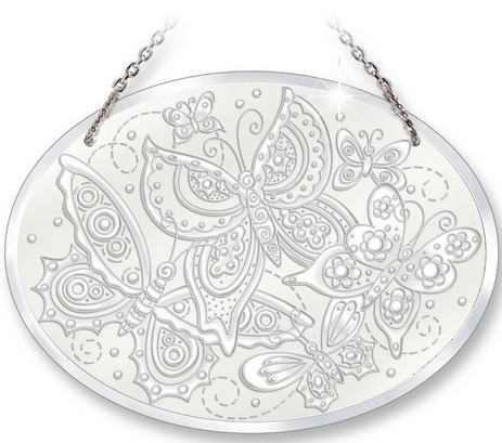 Amia 41371 Butterfly Fantasy Medium Oval Suncatcher