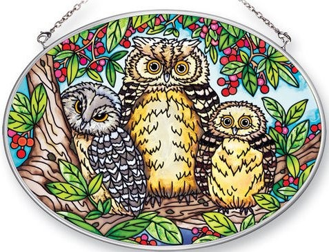 Amia 41377 What A Hoot Medium Oval Suncatcher