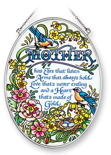 Amia 41383 Mother's Heart of Gold Medium Oval Suncatcher