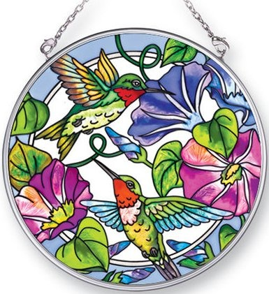 Amia 41408 Hummingbird Morning Glory Medium Circle Suncatcher