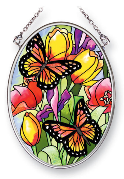 Amia 41453 Friendly Butterflies Small Oval Suncatcher