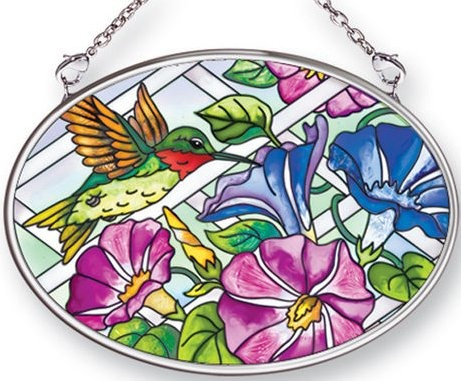 Amia 41454 Hummingbird Morning Glory Small Oval Suncatcher